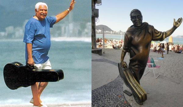 Dorival Caymmi por Evandro Teixeira / Estátua na praia de Copacabana